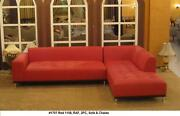 2 Pieces Set Modern Contemporary Design Red Leather Sectional Sofa Set 1707