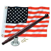 12 X 18 United States / American Flag Kit For Boats - Flag Pole And Holder