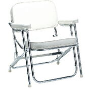 White Vinly Folding Deck Chair For Boats, Pontoons And Docks - Folds For Storage