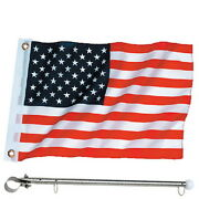 12 X 18 United States / American Rail Mount Flag Kit For Boats - Flag And Pole