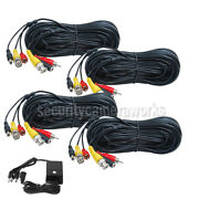 4x 50ft Cctv Ccd Security Camera Dvr Video Audio Power Bnc Cable W/4ch Power B4k