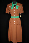 Very Rare Wwii Collectable Vintage Deadstock 1940and039s Rayon Gabardine Dress Size 4