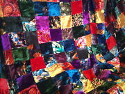 12and039 Colorful Velvet Patchwork Quilt Top Fabric - Classic Victorian Look