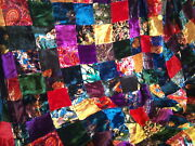 15and039 Colorful Velvet Patchwork Quilt Top Fabric - Classic Victorian Look