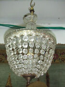 Vintage Crystal And Glass Tent And Bag Chandelier