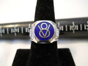 Vintage Style Cloisonne Classic Ford Blue With Chrome V8 Nickel Silver Ring
