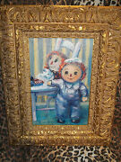 Original Sue Gallagher Raggedy Ann And Andy Museum Quality Oil Painting Wow