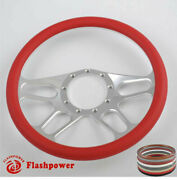 14and039and039 Billet Steering Wheel Red Color Muscle Car Dodge Challenger Charger Daytona