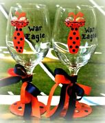 Collegiate Team Wine Glass Hand Painted Fan Gift Football Team Party Tailgate