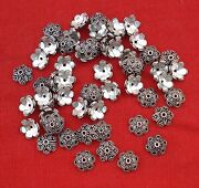 Ethnic Sterling Silver Caps Beads Charm Lot Rajasthan
