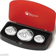 2013 Australia Lunar Series Ii Year Of The Snake Three Coin Silver Proof Set