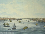 Antique 1870 Hand Colored City View Brooklyn New York Williams Earle French