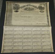 500 Confederate Bond State Of Ga 1862 W/35 Coupons