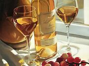 Gold In The Afternoon By Thomas Stiltz, Bottle Of Wine + Glasses - Art Postcard