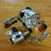 Bicycle Generator Light Complete Set Fit Schwinn Others Front And Rear Tail Light