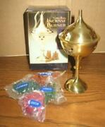 Brass Incense Burner W/50 Incense Starter Cones 6 Inches - Nib - Made In India