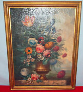 Flowers And Vase Painting Fine And Rare 19th Century Gorgeous Details /gilt Frame