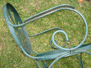 Vtg Industrial Machine Age Iron Art Deco French Garden Patio Chairs Table Carre