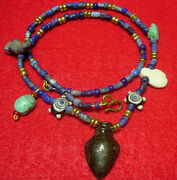 Ancient Egyptian Amulets And Lapis Lazuly Stone Beads Gold Foil Sandwich Beads