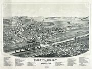 2790.fort Plain New York 1892 Aerial View Map Poster.home School Office Deco
