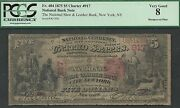 5 1875=first Charter=shoe + Leather Bank Ny=rare Re-engraved Plate=fr.404=pcgs