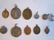11 Vintage Religious Pendants/medals - Some May Be Silver - Tub Rrr
