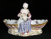 Antique 18 Century Germany Meissen Porcelain Figural Double Shell Candy Dish