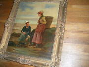 Antique 19 C Signed F Underhill Oil On Canvas Painting Wood Frame Usa Sale Only