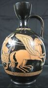 Mid 19th C Pratt Porcelain Greek Neoclassical Lady Chariot Winged Horse Pitcher