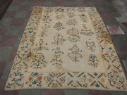 Antique Uzbek Silk Hand Made- Embroidered Suzani 218x169-cm / 85.8x66.5-inches