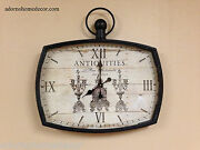 Antiquites Square Wall Clock Antique Vintage Rustic Chic Cottage French Decor