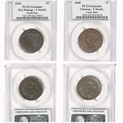1840 1c Braided Hair Large Cent Small And Large Date Pcgs Genuine Lot Of 2 Coins