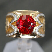 4.02 Ct Huge Round Burma Pigeon Blood Ruby Grs Gia Custom Unique Mens Ring.