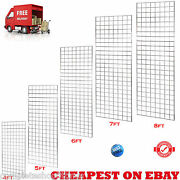 New Heavy Duty Gridwall/ Gridwall Mesh Chrome Display Panel Retail Shop 5 Sizes