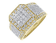 Mens 14k Two Tone Gold 14 Mm Round Pave Pinky Wedding Band Diamond Ring 4.0 Ct