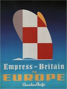 4125.canada Pacific.empress Of Britain To Europe.poster.home School Art Decor