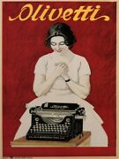 4191.olivetti.woman In Front Of Typewriter.red Background.poster.home Office Art