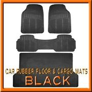 Fits 3pc Mitsubishi Endeavor Black Rubber Floor Mats And 1pc Cargo Trunk Liner Mat