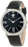 Versace Womenand039s M6q99d008 S009 Krios Black Leather Sapphire Crystal Black Watch