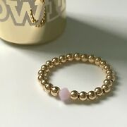 Gold Filled Pink Beaded Ring Stretch Elasticated Stacking Toe Or Thumb Ring