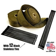 Titanium Lava Exhaust Wrap Thermal Tape 2 Rolls 2 X 50ft Black Stainless Ties