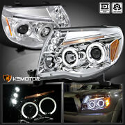 For 2005-2011 Toyota Tacoma Led Halo Clear Projector Headlights Left+right