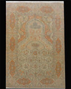 Turkish Hereke Prayer Wool Hand Woven Signed Rug Carpet 6and0391 X 4and0391 Collectible