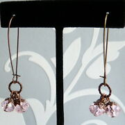 Antique Style Copper Pink Crystal Cluster October Birthstone Bridal Earrings