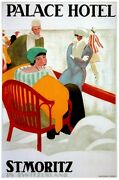 7409.palace Hotel.st.moritz.people Sitting In Winter.poster.art Wall Decor