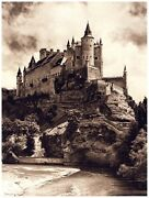 8188.large Castle On Cliff.next To Lake.black And White.poster.art Wall Decor