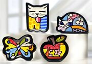 Romero Britto A Set Of 4 Tea Bag Holders Cat, Butterfly, Cat, Apple