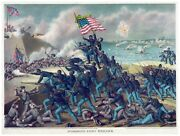 9065.storming Fort Wagner.soldiers March Forward.poster.decor Home Office Art