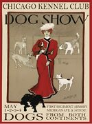 9411.chicago Kennel Club.dog Show.woman.red Dress.poster.decor Home Office Art