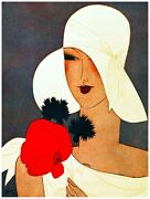 9591.woman In White Holding A Red Flower.poster.decor Home Office Art